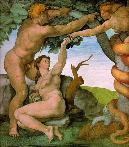Michelangelo - The Temptation of Adam and Eve, Detail from The Sistine Chapel ceiling