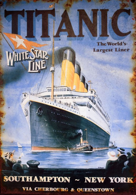 Titanic White Star Line travel poster
